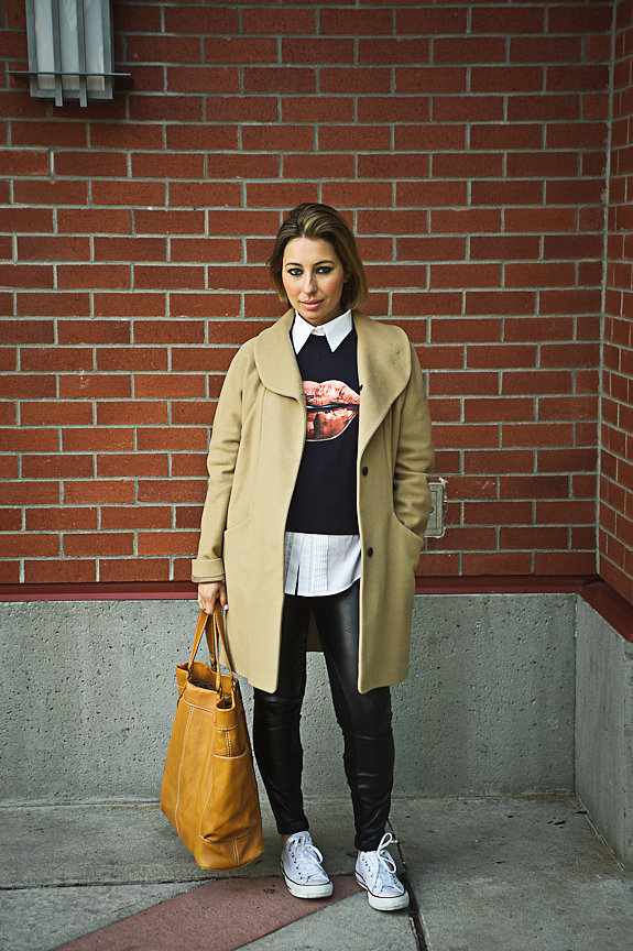 Nadia Albano, Park Royal, West Vancouver, Aritzia Coat, Joe's Jeans Faux Leather Leggings, Conver Sneakers, Browns Shoes, Daniella Guzzo Photography