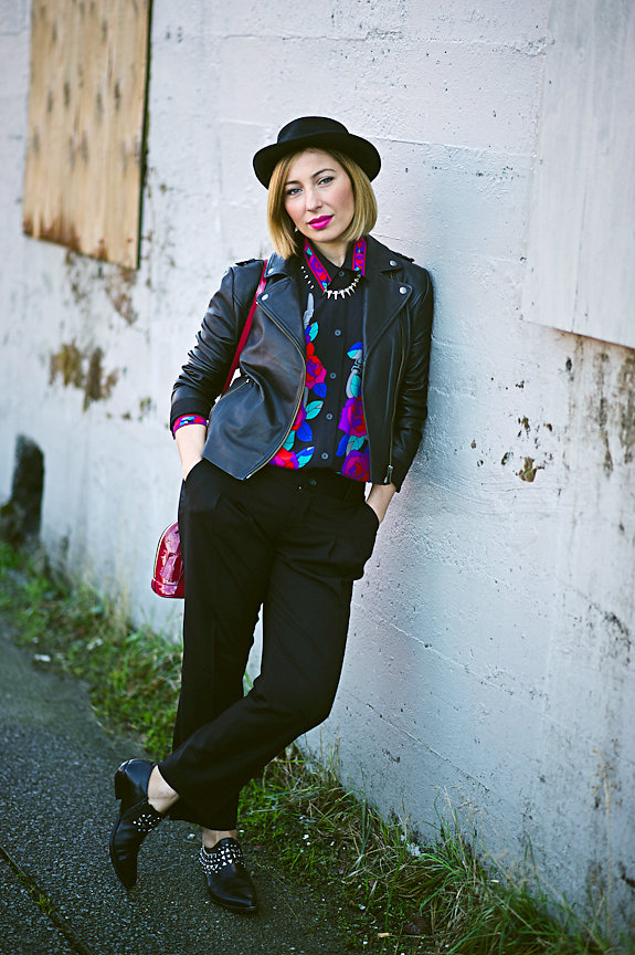 Nadia Albano, Brim Hat, Leather Jacket, Winners, Floral Blouse, Value Village, Black Trousers, Club Monaco, Daniella Guzzo Photography