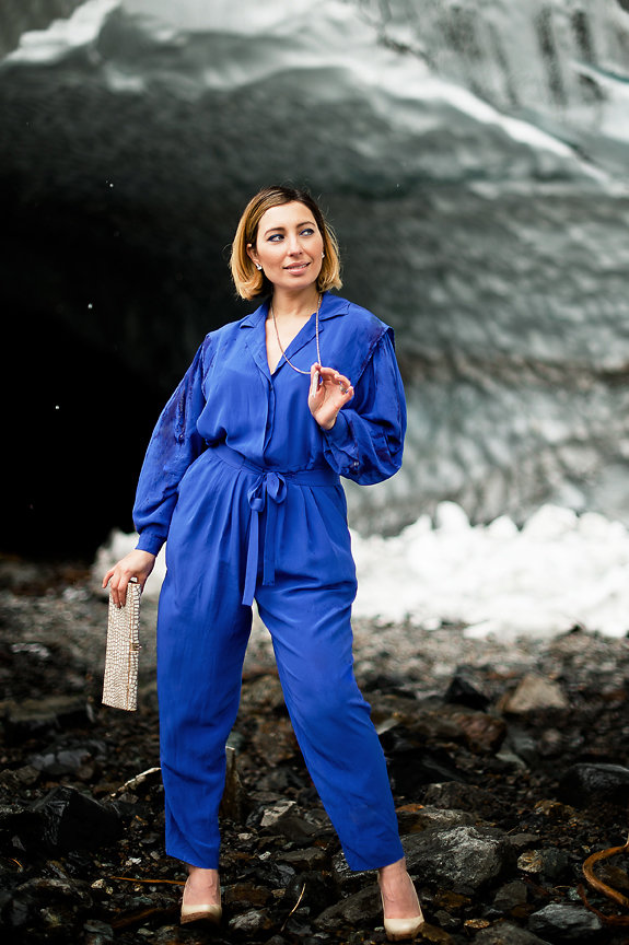 Nadia Albano, Ice Cave, Blue Vintage Jumper, Pumps, Stuart Weitzman, Clutch, Vintage, Accessories, Elsa Corsi, Jeweliette Jewellery, Daniella Guzzo Photography