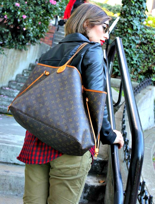 Nadia Albano, Lombard Street, Crookedest Street, Kenneth Cole, Maison Scotch, Leather Jacket, Winners, Neverfull Bag, Louise Vuitton, San Francisco, CA