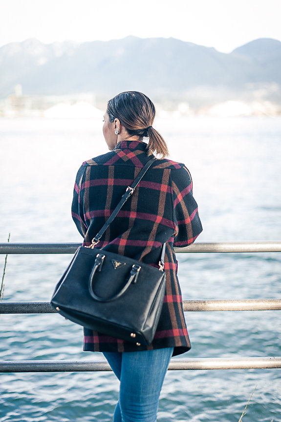 Nadia Albano, Light House, Stanley Park, Plaid Coat, Prada Bag, Daniella Guzzo Photography