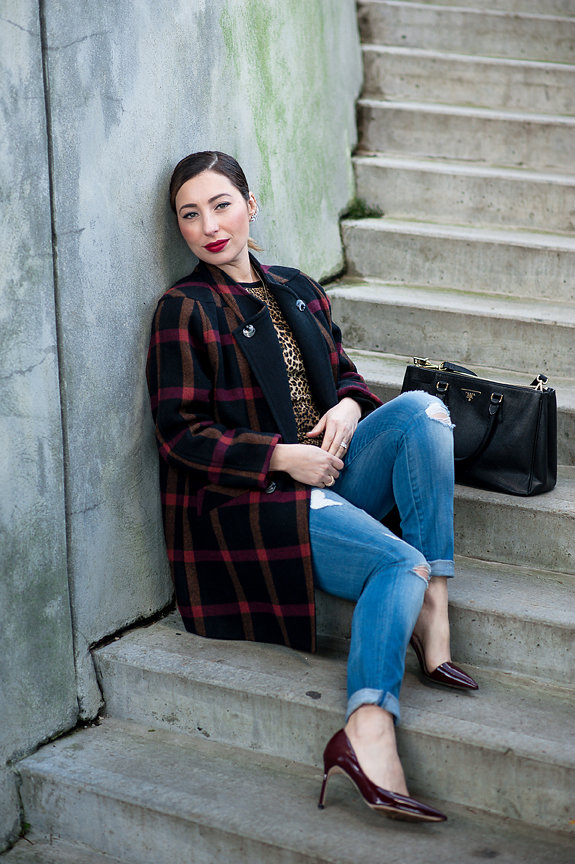 Nadia Albano, NadittudeTM Hashtag Neclace, Jeweliette Jewellery, Plaid Coat, Value Village, Jeans, 7 For All Mankind, Leopard Top, Zara, Daniella Guzzo Photography