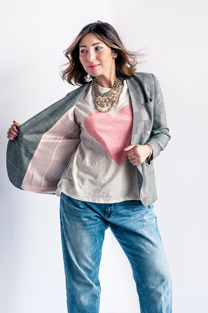Nadia Albano, Jeans, The Gap, T-Shirt, Winners, Statement Necklace, Elsa Corsi, Jeweliette Jewellery, Blazer, Value Village, Daniella Guzzo Photography