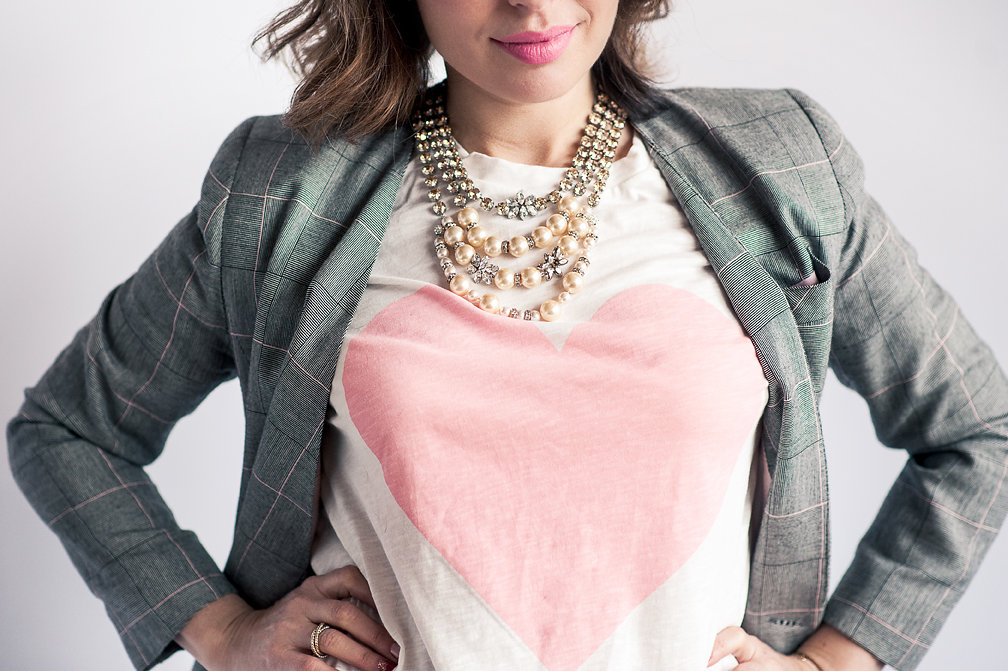 Nadia Albano, Pink Heart T-shirt, Winners, Blazer, Value Village, Statement Necklace, Elsa Corsi, Daniella Guzzo Photography