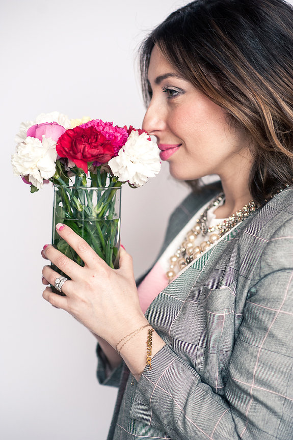 "Nadia Albano, Flowers, Elsa Corsi, Jeweliette Jewellery, Blazer, Value Village, Lipstick, Vasanti ""Puppy Love"", Daniella Guzzo Photography"