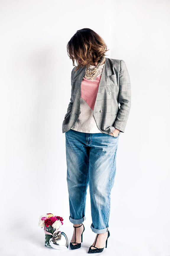 Nadia Albano, Jeans, The Gap, Pink Heart T-shirt, Winners, Blazer, Value Village, Shoes, Zara, Statement Necklace, Elsa Corsi, Daniella Guzzo Photography