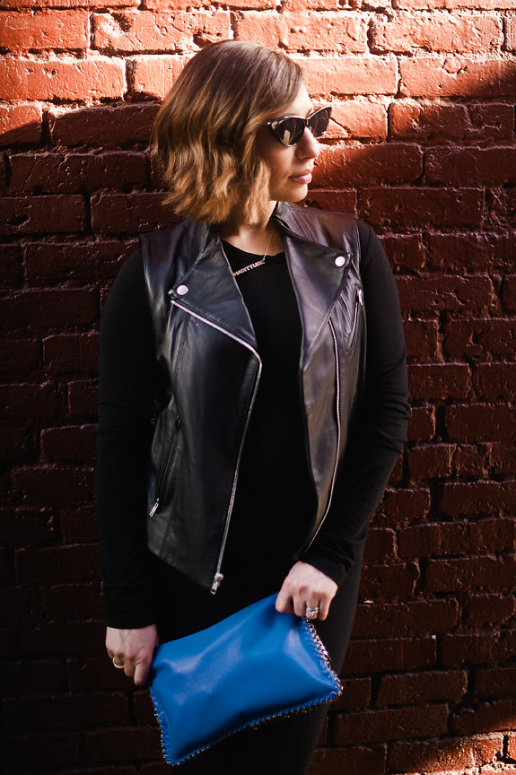Nadia Albano, Gastown Funk, Black Dress, Black Leather Vest, Tibi, Cobalt Blue Clutch, #Nadittude Hashtag Necklace, Jeweliette Jewellery, Daniella Guzzo Photography