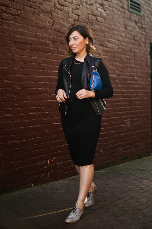 Nadia Albano, Gastown, Black Dress, Black Leather Vest, Tibi, Oxford Shoes, Winners, Daniella Guzzo Photography