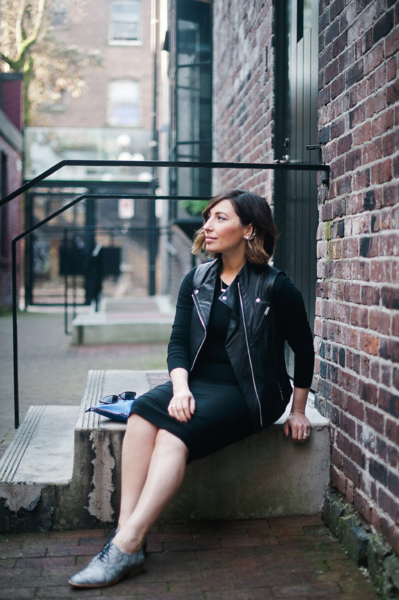Nadia Albano, Gastown Funk, Black Dress, Black Leather Vest, Tibi, Ozxord Shoes, Winners, Daniella Guzzo Photography