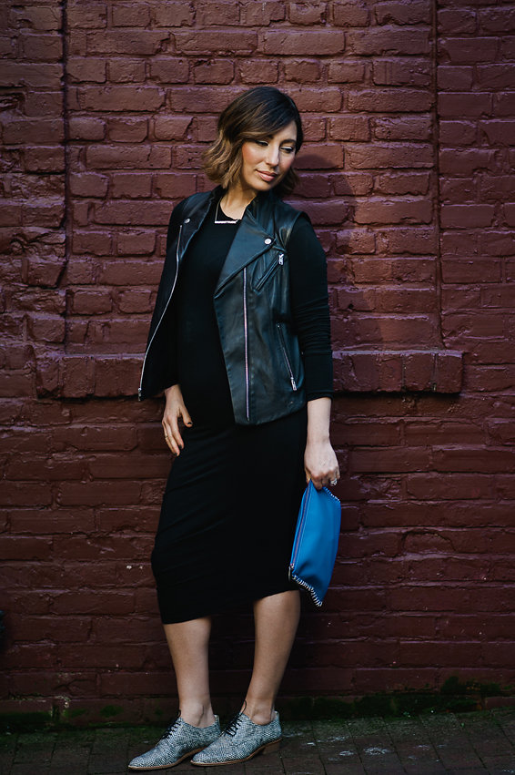 Nadia Albano, Gastown Funk, Black Dress, Black Leather Vest, Tibi, Cobalt Blue Clutch, Oxford Shoes, Winners, Daniella Guzzo Photography