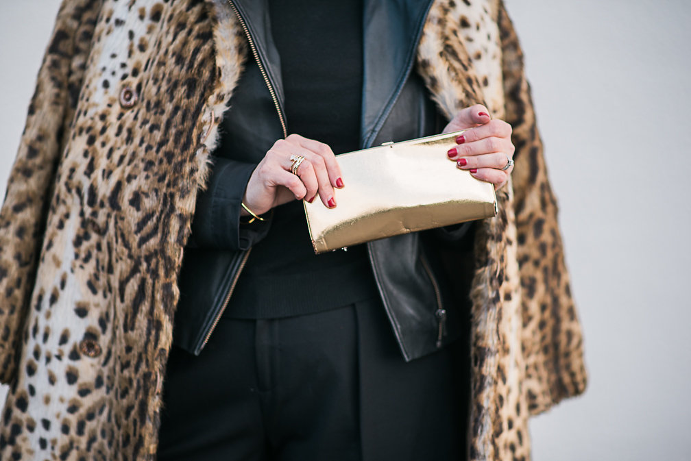 Nadia Albano, Faux Leopard Fur Coat, Value Village, Leather Jacket, Winners, Trousers, Club Monaco, Shoes, Manolo Blahnik, Daniella Guzzo Photography