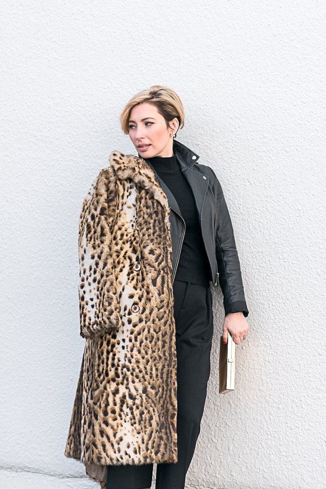 Nadia Albano, Faux Leopard Fur Coat, Value Village, Leather Jacket, Winners, Trousers, Club Monaco, Daniella Guzzo Photography