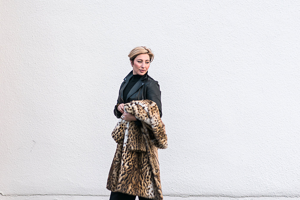 Nadia Albano, Faux Leopard Fur Coat, Value Village, Leather Jacket, Winners, Daniella Guzzo Photography