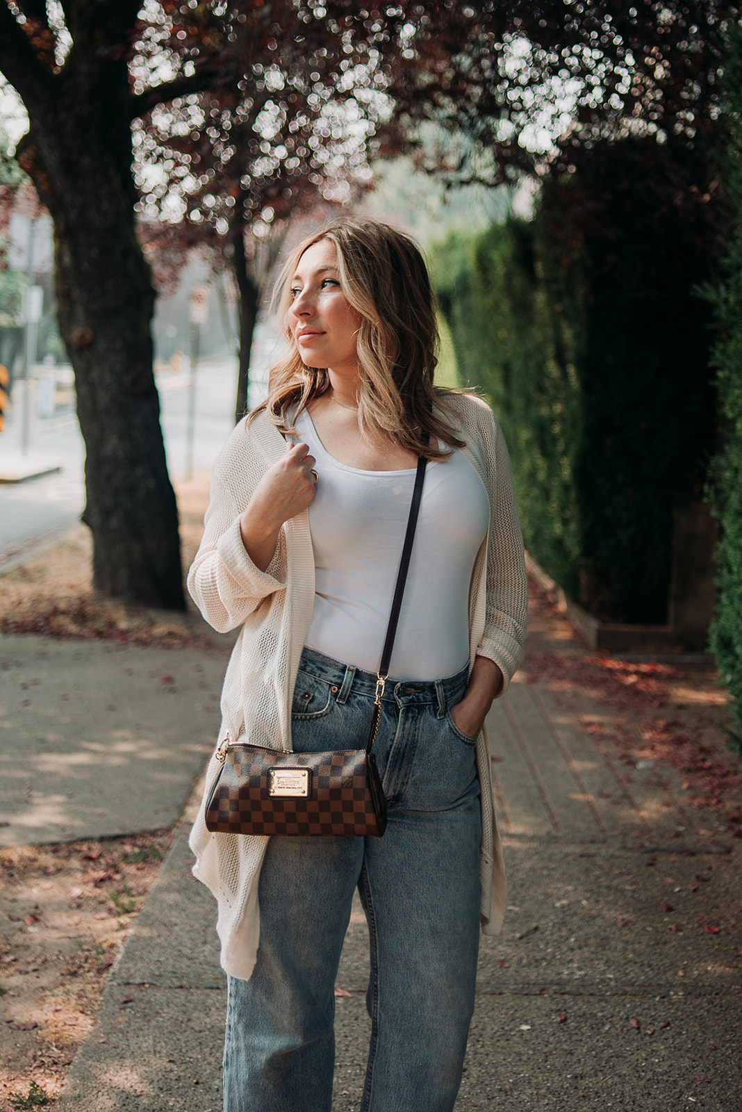 Nadia Albano, Daniella Guzzo Photography, Sweater Season, Sweater, Levi's Jeans, Vintage Levi's Jeans, Lucky Brand Cardigan Sweater, The Latest Scoop, Mules, Louis Vuitton, Fashion, Style